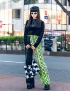 Tokyo Girls Street Style w/ O-Ring Choker, Velvet Sweater, (ME) Harajuku Half Snakeskin Pants, Romantic Standard, Kol Me Baby & Demonia Platforms