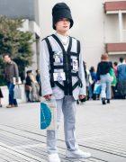UNIQLO Menswear Street Style w/ Walter Van Beirendonck Harness, Mock Neck Top, Alyx Tall Hat & Nike Sneakers