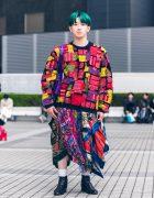 Multi-Colored Shinjuku Street Fashion w/ Green Bob, Hoop Earrings, Patchwork Sweater, Handkerchief Skirt, Purple Tote & Chelsea Boots