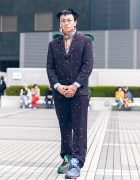 Tokyo Street Style w/ BamBron Embellished Butterfly Wings Suit, Chain Necklaces & Painted Shoes
