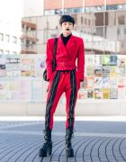 Red & Black Tokyo Street Style w/ Vintage Belted Jacket With Shoulder Pads, Open The Door Bag & Demonia Platforms