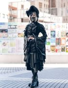 Gothic Japanese Steampunk Fashion w/ Face Mask, Bonnet, Floral Headpiece, Ruffle Shirt, Asymmetrical Skirt & Boots