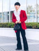 Shinjuku Street Fashion w/ Red Jacket, Black Corduroy Pants, White Ruffle Top, Zara, Faith Tokyo & Oh Pearl