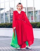 Bunka Fashion College Colorful Vintage Street Style w/ Red Dress, Spring Heel Sneakers & Shinkirou Bag