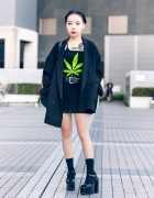All Black Tokyo Girl Vintage Street Style w/ Tattoos, Hare, DKNY, Office Kiko & Pinnap