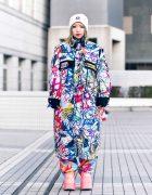 Tokyo Street Style w/ Graffiti Coat, Colorful Platform Shoes, Beret, Man G, Demonia & Kobinai