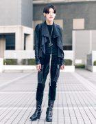 All Black Rick Owens Street Fashion w/ Skinny Pants, Platform Boots & Chains