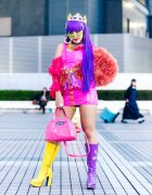 Colorful Tokyo Street Fashion w/ Purple Hair, Gold Crown, Vinyl Mini Dress, Gallerie & Office Kiko Patent Boots