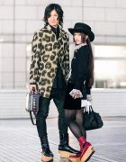 Vivienne Westwood Tokyo Street Fashion w/ Wide Brim Hat, Leopard Print Coat, Cardigan, Ruffle Blouse, Leather Briefcase & Rocking Horse Shoes