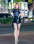 Chic Monochrome Japanese Street Style w/ Cute Dog, Patrizia Pepe Cropped Jacket, Rukus by Yasuhiro Tomita & Stella McCartney