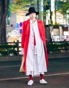Japanese Mens Overcoat Street Style w/ Wide Brim Hat, Gucci Choker, Doublet, Limi Feu, LAD Musician, As Super Sonic, Toga Virilis & Comme des Garcons