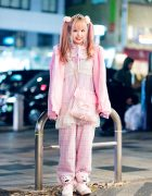 Harajuku Girl's All Pink Street Style w/ Twin Tails, Claire's, Paris Kids Tiara, WC, PUNYUS, Handmade Fashion & Jeremy Scott x Adidas Teddy Bear Sneakers