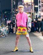 Harajuku Mens Street Style w/ Thai Boxing Shorts, Grillz, Off-White Puffer Jacket, Adidas x Gosha Rubchinskiy & YSL Boots