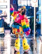 Harajuku Decora Street Style w/ Handmade Hair Clips, Pixel Bead Necklace, Rainbow Puffer Jacket, Yoshida Channel, Teddy Bear Skirt, Leg Warmers & Yosuke Platforms