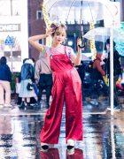 Kyoto Idol & Kawaii Monster Girl in Harajuku w/ Twin Buns, Clear Umbrella, Scai Wide Leg Satin Overalls, Unicorn Shirt & Yosuke Platforms