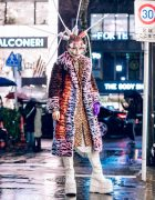 Avant-Garde Tokyo Street Style w/ Butterfly Face Makeup, Tubes Headpiece, Faux Fur Coat, Animal Prints & Demonia Platform Glitter Boots