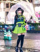 Japanese Idol Street Style w/ Clear Umbrella, Harness Jacket, WEGO Harajuku Pleated Skirt, Romantic Standard, Flower Bag & Yosuke USA Heels