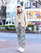 Tokyo Streetwear w/ Beats by Dre Headphones, Remake Burberry Coat, Umbro, Zebra Print Pants, Gucci, Shury & Grounds by Mikio Sakabe Sneakers