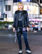 Japanese All Black Punk Street Style w/ Lock Necklace, Knuckleduster, Cyberdyne Leather Jacket, Tiger of London Pants, BlackMeans Coin Pouch & Demonia Creepers