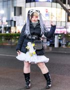 Harajuku Style w/ Braided Tails, Cassette Tape Headpiece, UNIQLO Puffer Jacket, Disney Villains Backpack, Sinz Radio Sling Bag & Buckle Boots