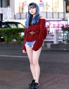 Chic Casual Harajuku Street Style w/ Ombre Blue Hair, Off Shoulder Sweater, Denim Shorts, Bless & Yosuke Shoes