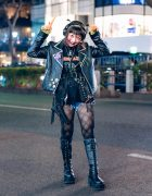 Punky Harajuku Girl Street Style w/ Shaved Hairstyle, Chucky, Biker Jacket, Handmade Accessories & Demonia Boots