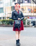 Japanese Guitarist Lisa13 in Harajuku w/ Pink Hair, Polka Dot Bow, Cropped Biker Jacket, Korean Dress, Gucci, Nyulycadelic Backpack & Dr. Martens Boots