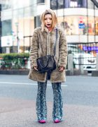 Harajuku Street Style w/ Dark Purple Lipstick, Furry Coat, Printed Hoodie, Snakeskin Pants, Sling Bag & Kobinai Doodle Print Pointy Boots
