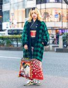 Kimono Streetwear Style w/ Two-Tone Hair, Houndstooth Coat, Resale Kimono, Handmade Geisha Print Tote & Pierre Hardy Chunky Sneakers