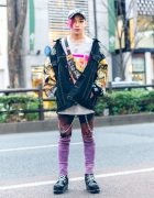 Japanese Artist's Cote Mer Streetwear Style w/ Purple Hair, Patchwork Denim Jacket, Remake Tie-Dye Skinny Pants, Waist Bag, Silver Chains & Platform Barbwire Boots