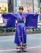 Kobinai Kimono Japanese Street Style w/ Shaved Hairstyle, Rainbow Pants, Handmade Doll Heads Bag & Lace-Up Boots