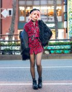 Plaid Tokyo Street Style w/ Pink Hair, Listen Flavor Beret, ACDC Rag Furry Jacket, Plaid Harness Dress, Raspberry Mazohyst, ME Harajuku & Platform Boots
