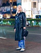 Ash Blonde Mullet Hair in Harajuku w/ Contena Store Coat, Sub-Age, Jean Paul Gaultier, Y Project Bag, GlamHate, Kadakada & Eytys