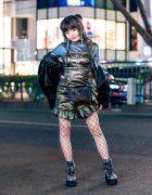 All Black Tokyo Street Style w/ Zara Fuzzy Jacket, Romantic Standard, Shirred Ruffle Dress, Fishnet Tights, Vintage Bag & Yosuke Platform Floral Boots