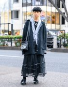 Ikumi Monochrome Style w/ Blunt Bob, Knit Cardigan, Sheer Skirt, Seams Jewelry Accessories, Quilted Sling & Lace-Up Shoes