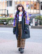 Tokyo Streetwear Style w/ Long Curls, Lakers Jacket, Cote Mer, WEGO Plaid Pants, Bless & Yosuke Platforms