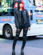 All Black Killstar Harajuku Street Style w/ Two Tone Hair, Spooky Tunes Bomber Jacket, Ripped Jeans, Brindle Armor Rings, Vivienne Westwood & Demonia Boots