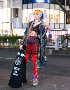 Harajuku Style w/ Rainbow Hair Falls, Volcan & Aphrodite Kimono Jacket, Listen Flavor, Bones Lace-Up Pants, Psychedelic Corset, Dolls Kill & YRU Rainbow Platforms