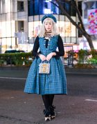 Harajuku Streetwear Style w/ Plaid Beret, Sheer Polka-Dot Top, Belted Plaid Dress, Anna Sui & Vivienne Westwood x Melissa Rocking Horse Shoes
