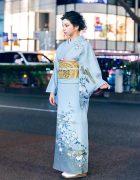 Japanese Kimono Street Style w/ Floral Kimono, Gold Obi & Sandals