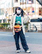Tokyo Street Style w/ Cold Mask, Twin Tails, Chicago Blazer, ME Harajuku, Never Mind the XU, Kol Me Baby Furry Waist Bag & Bershka