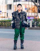Tokyo Style w/ Shaved Head, ESC Studio Denim Vest, Parachute Pants, Never Mind the XU, DYOG Patent Sling Bag & Demonia Buckle Boots