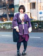 Purple Harajuku Style w/ Fringed Bob, Tassel Earrings, Silk Kimono, Bubbles Sweater, Vivienne Westwood Asymmetric Skirt, Ikumi & Yosuke