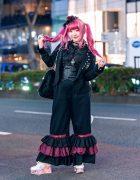 Black & Pink Tokyo Street Style w/ Pink Hair, Lace Headpiece, Metamorphose Temps De Fille, Handmade Ruffle Pants, Teddy Bear & Swankiss Flower Platform