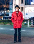 Red & Black Menswear in Harajuku w/ Bucket Hat, Christopher Nemeth Rope Print Necklace, Sullen Parka, Kolor, John Lawrence Sullivan & Gucci