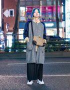 Layered Menswear in Tokyo w/ Blue Green Hair, Whiteland Blackburn Coat, Keisuke Yoneda Maxi Skirt, Number (N)ine, Gucci Bag & Alexander Wang x Adidas Sneakers