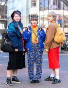 Tokyo Streetwear Styles w/ Purple Hair, HEIHEI Plaid Beret, Shimamura Skirt, Varsity Jacket, Choking Hazard Pants, Winnie The Pooh Backpack, & Dickies