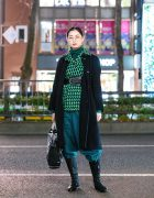 Two-Tone Street Style w/ Houndstooth Jacket, Turtleneck, Parachute Pants, Remake Bag & Prada Knee Boots