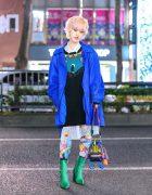 Harajuku Style w/ Messy Bob, Tender Flame Necklace, Vintage Fashion, Mikio Sakabe, Jeffrey Campbell Tights, Maison Promax Villain Squad Bag & Yello Pointy Crocodile Boots