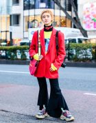 Short Hairstyle Tokyo Street Style w/ Liquem Belt Choker, Santa Monica Blazer, Romantic Standard, Flared Pants, Marc Jacobs & Chunky Sneakers